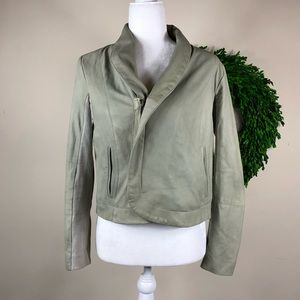 VEDA | Mint Green Leather Jacket Moto Asymmetrical